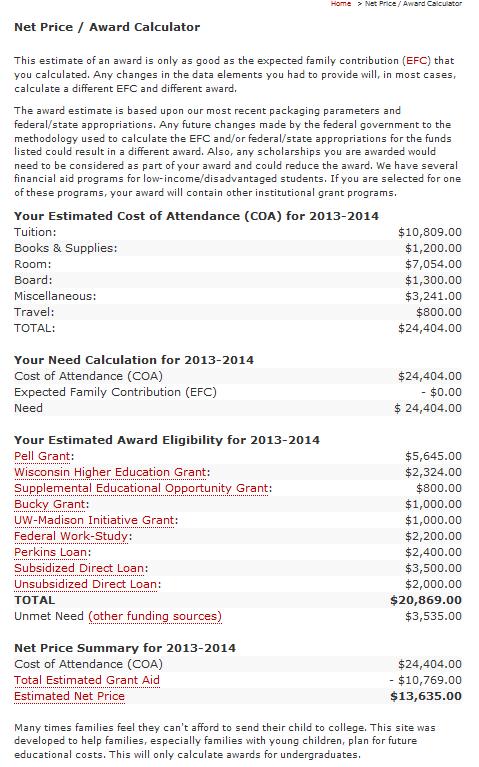 Madison Net Price Calculator